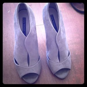 ZARA Suede Peep-Toe Pumps 9